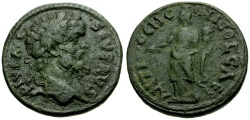 Ancient Coins - Septimius Severus, Pisidia Antioch Æ23 / Tyche (Genius of Colony)