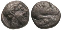 Ancient Coins - Caria.  Euromos AR Hemiobol / Boar