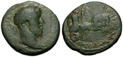 Ancient Coins - Commodus, Coele-Syria, Balanea as Claudia-Leucas Æ23 / Emperor in Quadriga / Lindgren Plate Coin