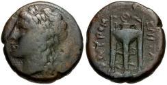 Ancient Coins - Sicily. Tauromenion Æ Hemilitron / Tripod