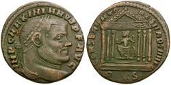 Ancient Coins - Maximianus Æ Follis / Roma in Temple