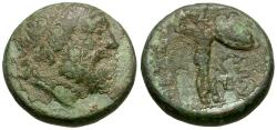 Ancient Coins - Thessaly. Thessalian League Æ16 / Athena
