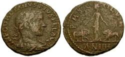 Ancient Coins - Gordian III, Moesia Superior, Viminacium Æ30 / Moesia between Bull and Lion