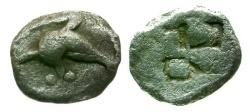 Ancient Coins - VF/VF Islands off Thrace Thasos AR Hemiobol / Dolphin