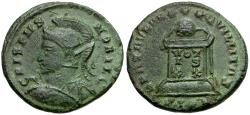 Ancient Coins - Crispus Caesar Æ3 / Globe on Altar
