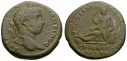 Ancient Coins - Elagabalus.  Moesia Inferior. Marcianopolis Æ25 / River god