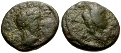 Ancient Coins - Macrinus, Mesopotamia Nisibis Æ16 / Bust of Tyche