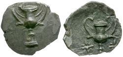 Ancient Coins - Calabria. Taras AR Hemiobol / Kantharos