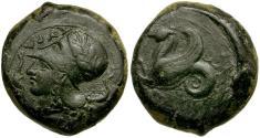 Ancient Coins - Sicily. Syracuse. Time of Dionysios I Æ Litra / Hippocamp