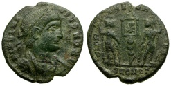 Ancient Coins - Delmatius Caesar Æ4 / Soldiers and Standard