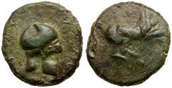 Ancient Coins - Sicily. Entella. Campanian Mercenaries Æ17 / Helmet