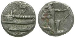 Ancient Coins - Phoenicia. Sidon. Ba`alšillem (Sakton) II (401-365 BC) AR 1/32 Shekel / Great King
