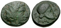 Ancient Coins - Macedon. Skione Æ17 / Helmet