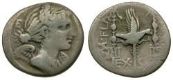 Ancient Coins - 82 BC - Roman Republic. C. Valerius Flaccus. Massalian mint AR Denarius / Eagle and Standards
