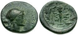 Ancient Coins - Lydia. Sardes Æ15 / Club in Wreath