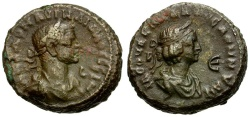 Ancient Coins - Aurelian and Vabalathus. Egypt. Alexandria Billon Tetradrachm