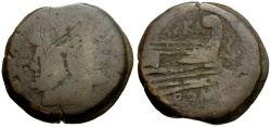 Ancient Coins - 150 BC - Roman Republic Æ AS / Prow and Dolphin