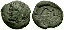 Ancient Coins - VF/VF Cimmerian Bosporus, Pantikapaion Æ21 / Pan and Lion with Bow and Arrow overstrike