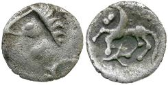 Ancient Coins - Celtic Tribes. Central Europe. Uncertain Tribe AR Obol / Horse