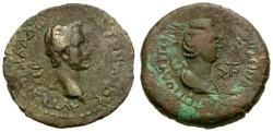 Ancient Coins - Antoninus Pius and Faustina I. Cilicia. Flaviopolis Æ23