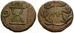 Ancient Coins - EF/EF Bosporian Kings, Sauromates I Æ 48 Units / Curule chair, shield and sceptre / Wreath