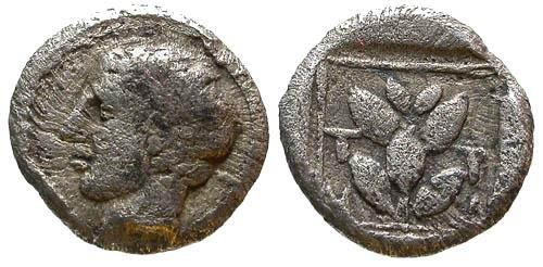 Ancient Coins - aVF/aVF Thrace Trierus AR Obol / Branch