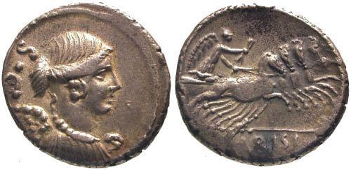Ancient Coins - 46 BC / aEF/aEF Carisia 3 Roman Republic Denarius / Victory in quadriga
