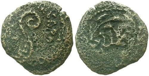 Ancient Coins - aVF/gF+ Pontius Pilate Prutah / Lituus and LIZ