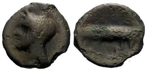 Ancient Coins - EF/VF Turones Potin Unit / Devil Head