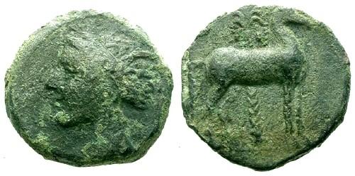 Ancient Coins - aVF/aVF Carthage Zeugitania AE15 / Tanit / Horse and palm