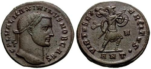 Ancient Coins - @@Failmezger Collection@@ **PLATE COIN** VF/VF Maximinus II as Caesar AE Follis / VIRTVS EXERCITVS