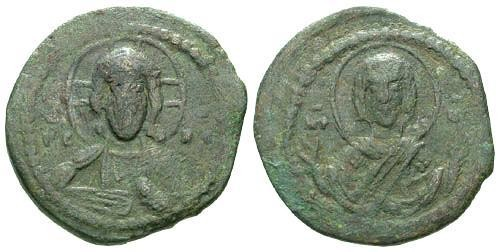 Ancient Coins - gF/gF Anonymous Class G AE Follis / Christ and Mary