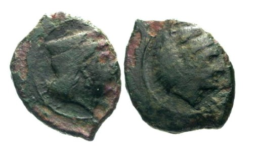 Ancient Coins - F/F Sicily Therma Himerenses AE16 / Hera and Herakles