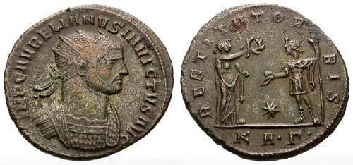 Ancient Coins - VF/VF Aurelian AE Antoninianus / Rare Obverse Legend