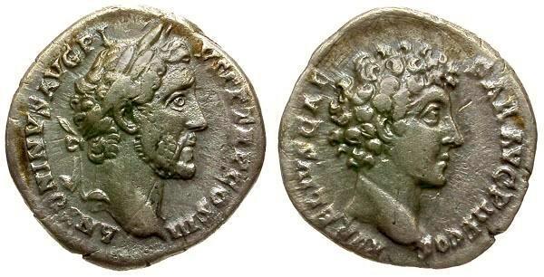 Ancient Coins - VF/VF Antoninus Pius and Marcus Aurelius AR Denarius