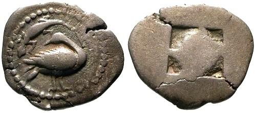 Ancient Coins - aVF/aVF Macedon Eion AR Trihemiobol / Goose and lizard