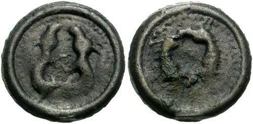 Ancient Coins - F+/F+ Suessiones Tribe Potin / Two Animals