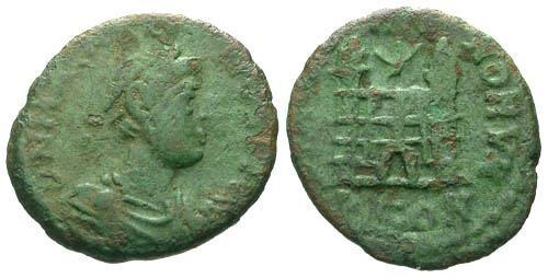 Ancient Coins - F/F Magnus Maximus Usurper AE4 / Rare Twin Tower City Gate
