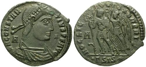 Ancient Coins - VF/aVF Constantius II AE22 / By This Sign You Shall Conquer