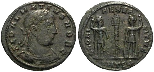 Ancient Coins - aVF/aVF Delmatius as Caesar AE3 / Gloria