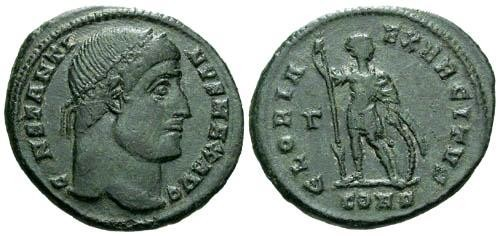 Ancient Coins - VF/VF Constantine I the Great Follis / Soldier