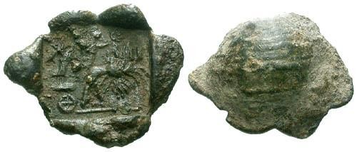 Ancient Coins - Byzantine Commercial Lead Seal / Charioteer
