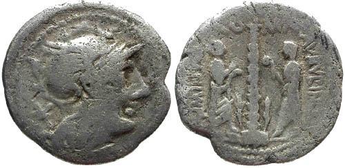 Ancient Coins - F/F 134 BC Minucia 9 Denarius / Ionic Column