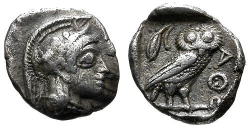 Ancient Coins - VF/aEF Attica Athens AR Obol / Owl