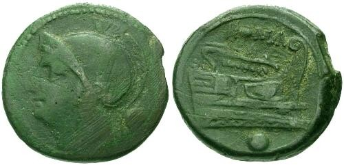 Ancient Coins - F+/VF Republic Anonymous Uncia 217 BC