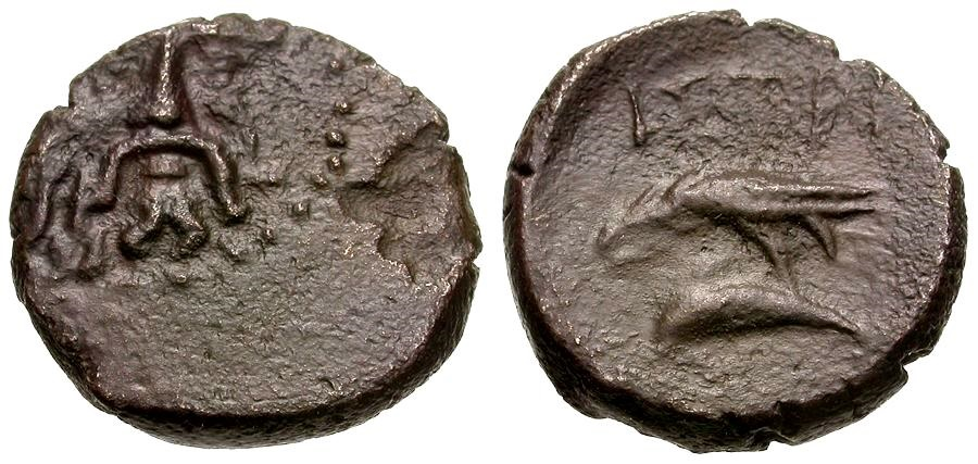 Ancient Coins - Moesia Inferior.  Istros Æ14 / River god