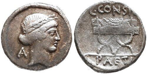 Ancient Coins -  aVF/aVF Considia 2 Roman Republic Denarius / Curule chair