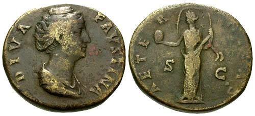Ancient Coins - gF+/gF+ Faustina AE Sestertius / Aeternitas