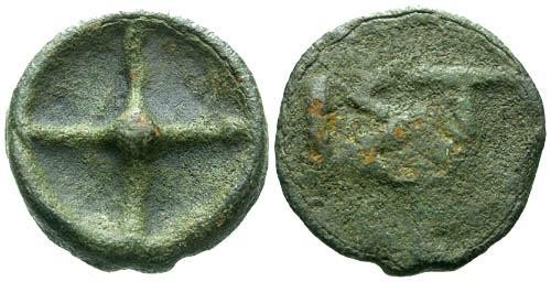 Ancient Coins - VF Istros Cast Wheel Money / Scarce Early Cast Coinage / Very large size