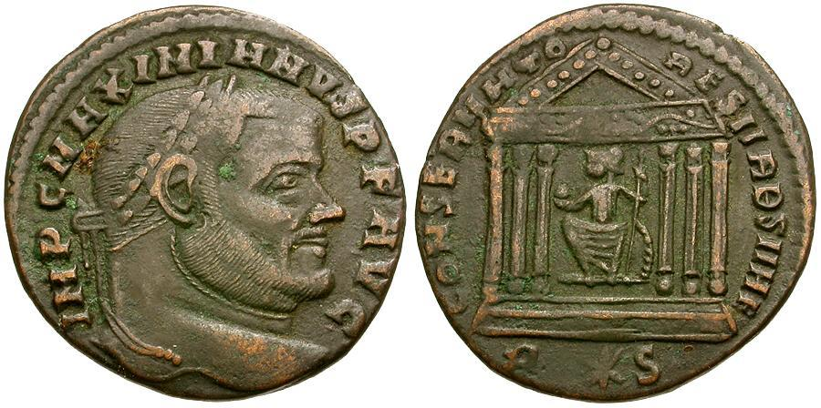 Ancient Coins - Maximianus Æ Follis / Roma in Temple